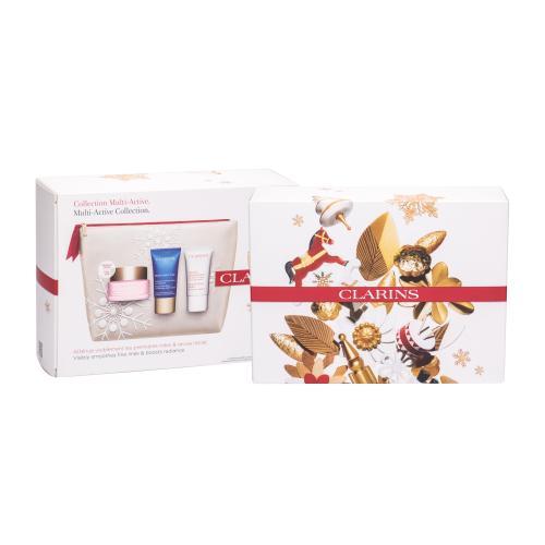 Clarins Multi-Active zestaw Krem na dzieñ 50 ml + Krem na noc 15 ml + Balsam do twarzy Beauty Flash 15 ml + Kosmetyczka dla kobiet