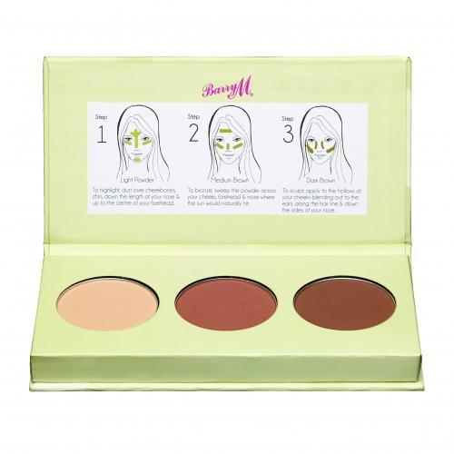 Barry M Flawless Chisel Cheeks Contour Kit puder 2,5 g dla kobiet Light - Medium