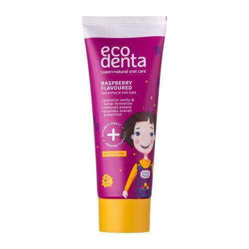 Ecodenta Super+Natural Oral Care Raspberry pasta do zębów 75 ml dla dzieci Uszkodzone pudełko Naturalny; Cruelty free; Vegan