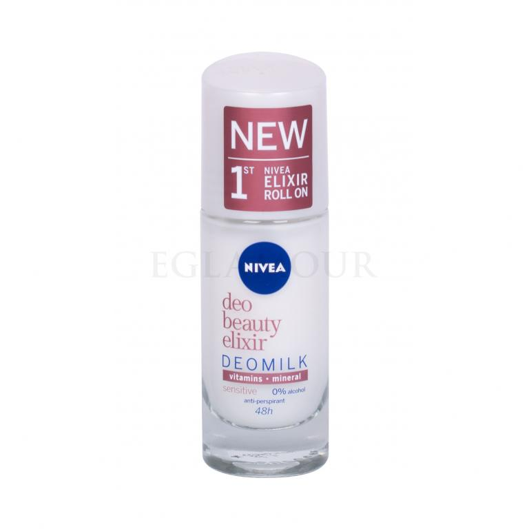 Nivea Deo Beauty Elixir Deomilk Sensitive Roll-on Antyperspirant dla kobiet 40 ml