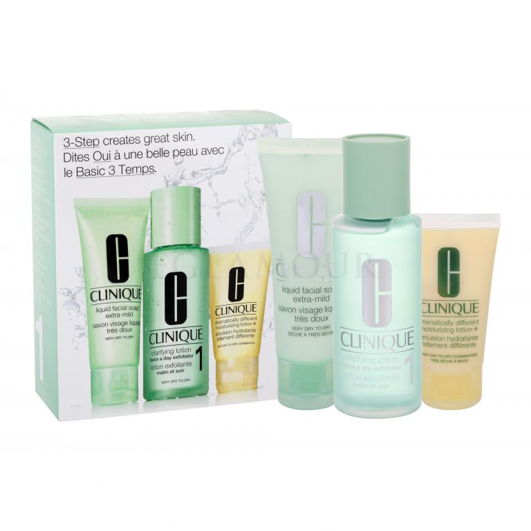 Clinique 3-Step Skin Care 1 Zestaw dla kobiet 50ml Liquid Facial Soap Extra Mild + 100ml Clarifying Lotion 1 + 30ml DDML